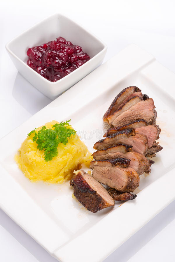 Roasted Duck Breast With Potatoes Stock Photography