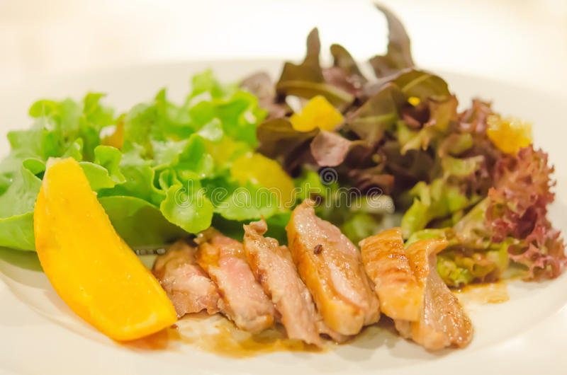 Roasted duck breast with salad royalty free stock photos