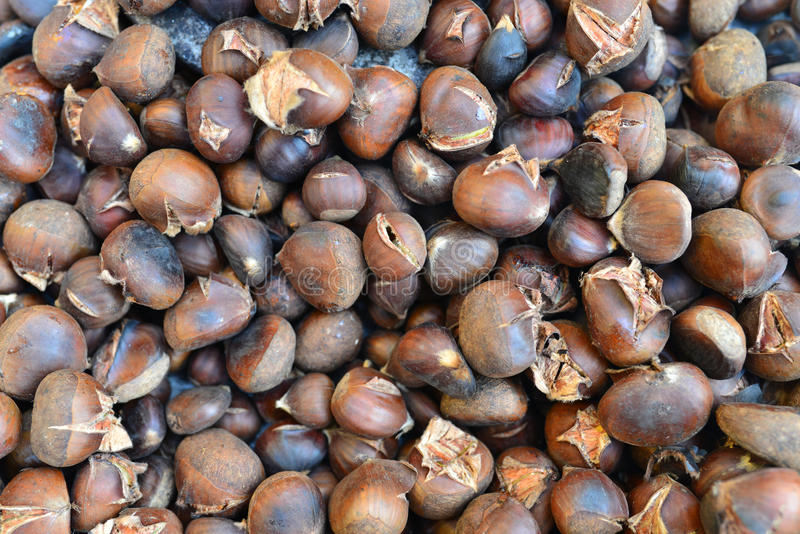 Roasted edible chestnuts stock photography