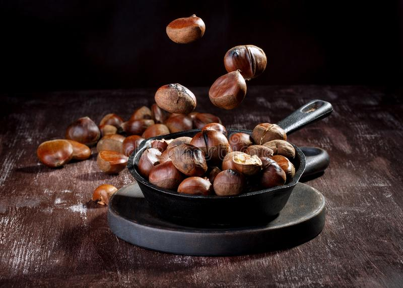 Roasted edible chestnuts royalty free stock photo