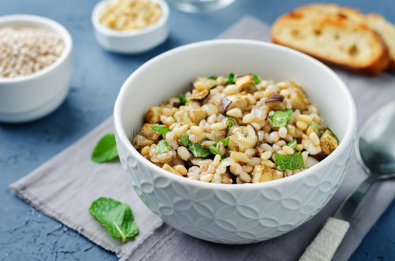 Roasted eggplant pine nuts mint barley salad royalty free stock photos