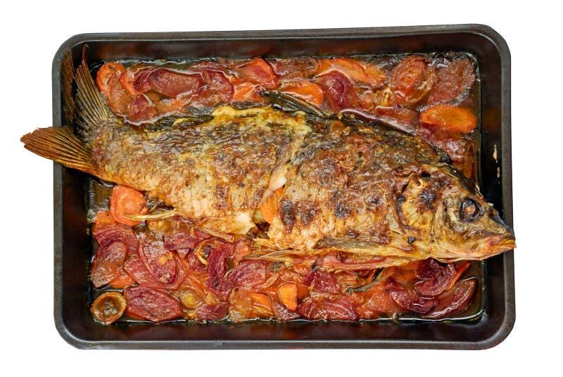 Roasted European carp stock photo