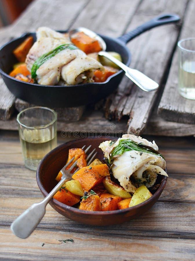 Roasted fish rolls royalty free stock image