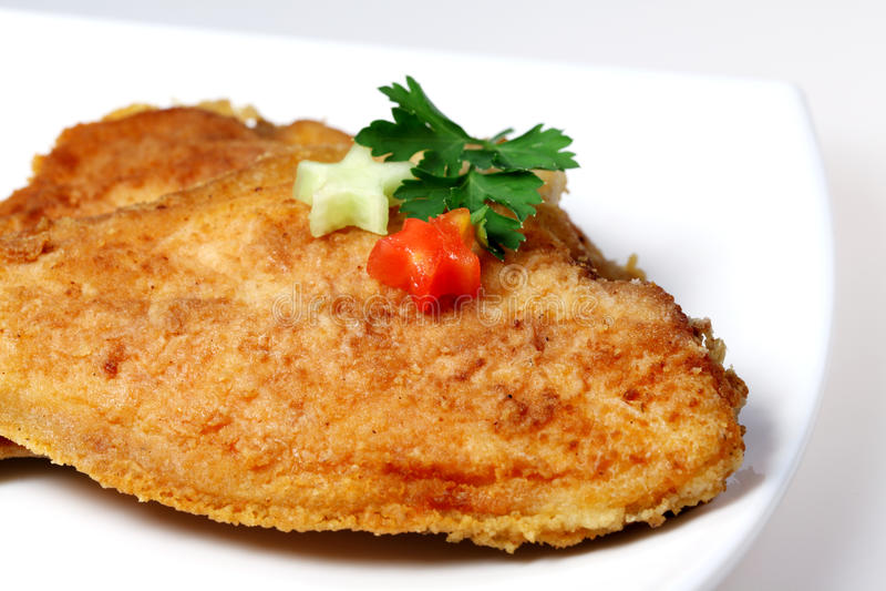 Roasted Flounder ( plaice ) royalty free stock image