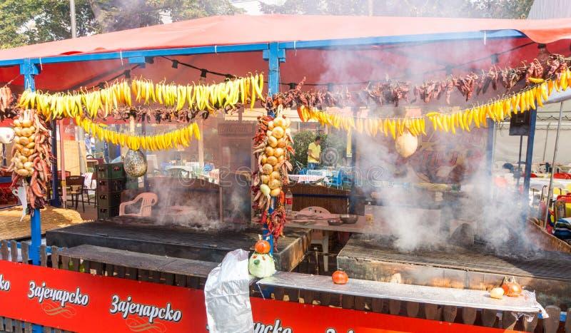 Roasted fresh pepper on Roshtilyade Leskovac in Serbia stock image
