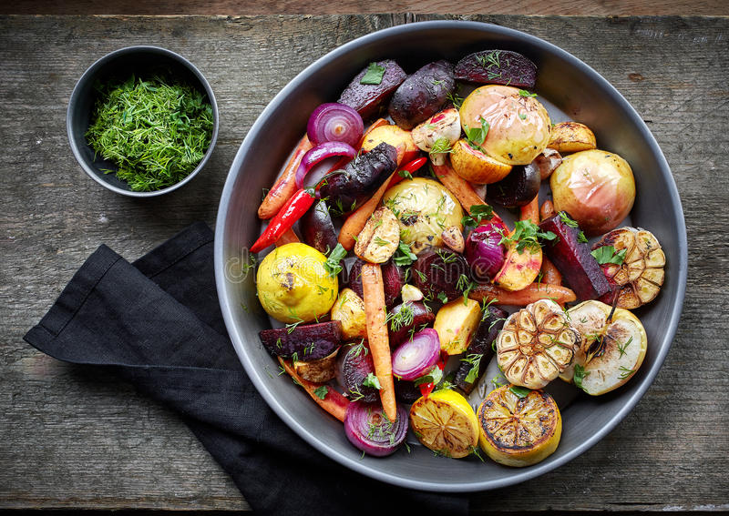 Roasted fruits and vegetables stock photos