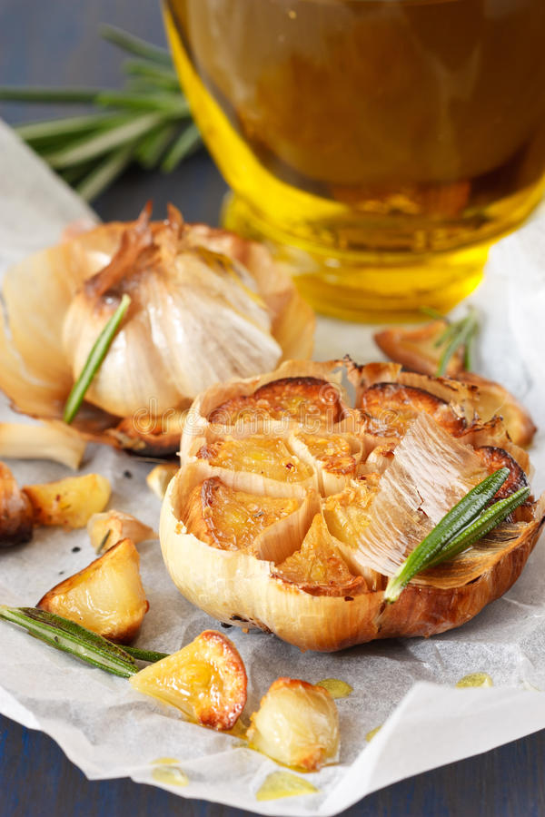 Download Roasted garlic. stock photo. Image of herb, blue, tasty - 23770946