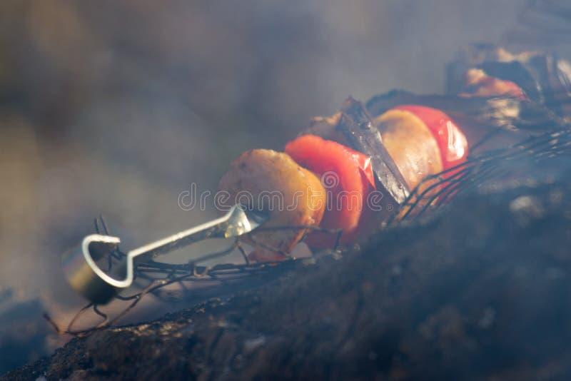 Roasted grillade tomaten, aubergine på pinnen på den öppna branden arkivfoton