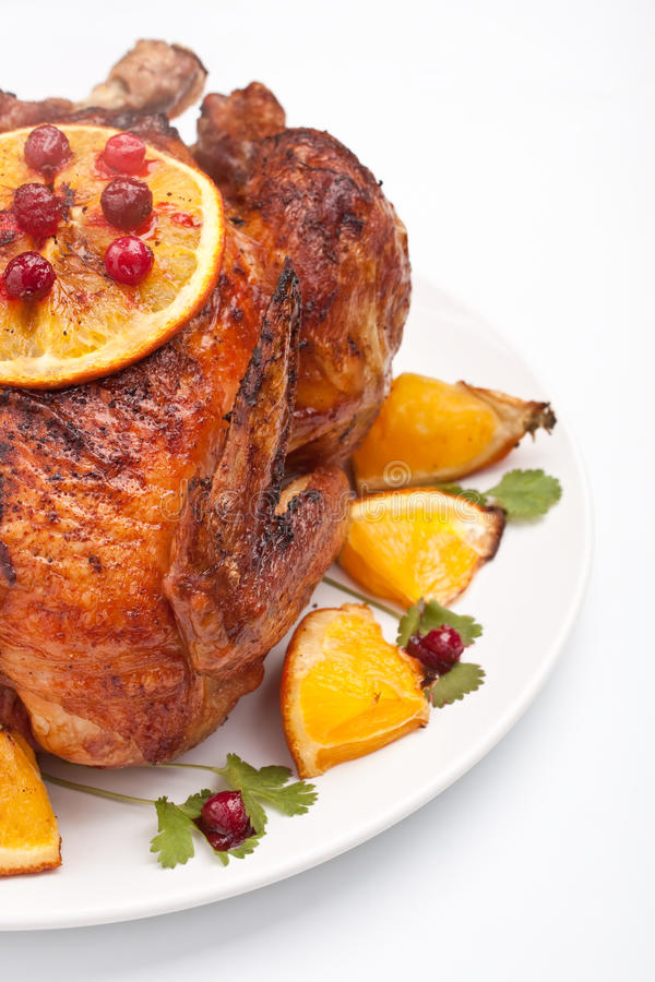 Roasted holiday chicken stock photography