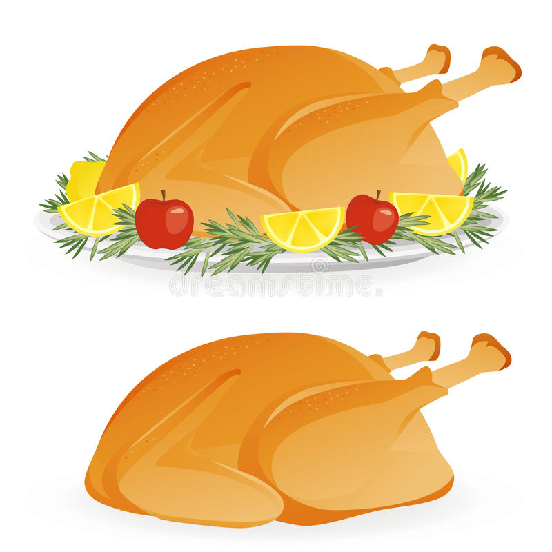 Roasted holiday turkey vector illustration