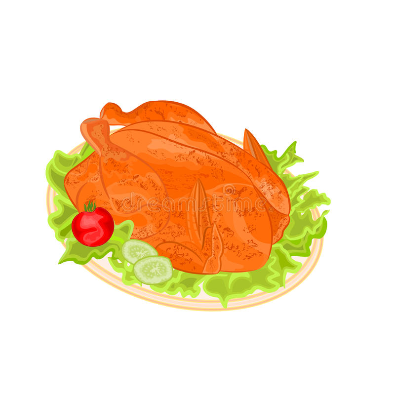 Roasted holiday turkey vector royalty free illustration
