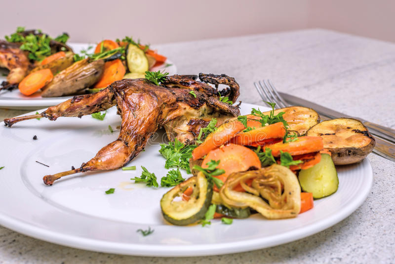 Roasted homemade quail with vegetables. Healthy food. Perfect dinner for two stock images