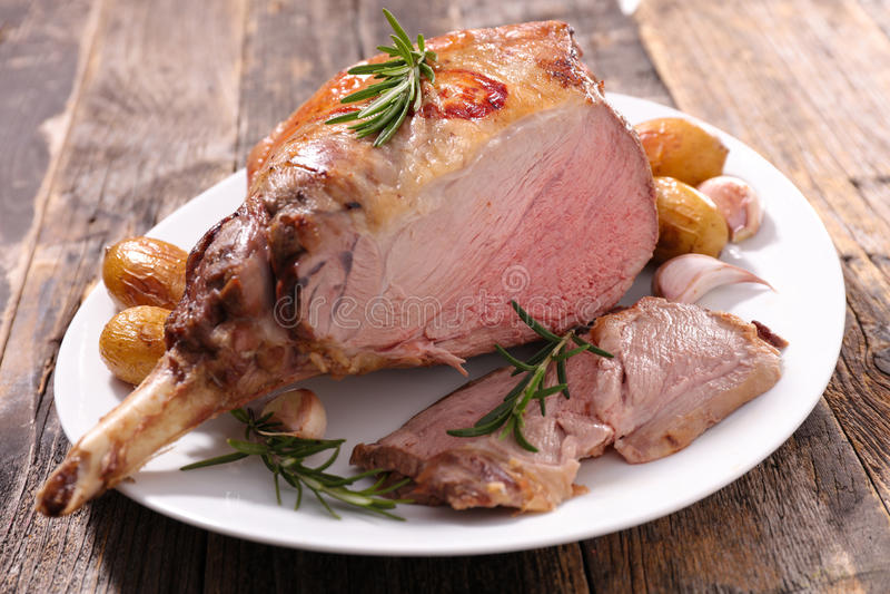 Roasted lamb leg royalty free stock image