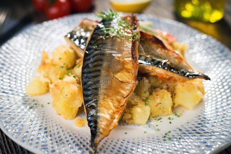 Roasted mackerel fillet stock images