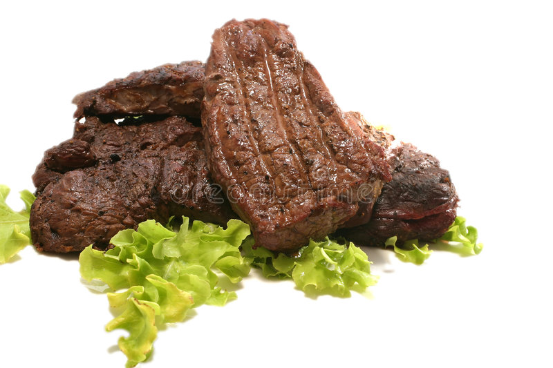 Download Roasted meat over white stock image. Image of food, cook - 5610753