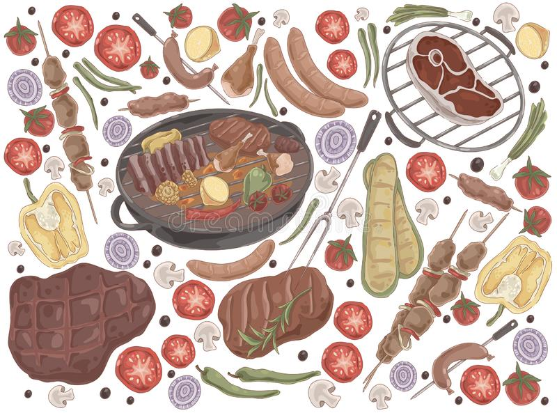 Roasted meat with vegetables, grilled steak, shashlik, chicken legs, cooked ribs, grilled sausages, tasty bbq set. Delicious barbecue, summer picnic concept royalty free illustration