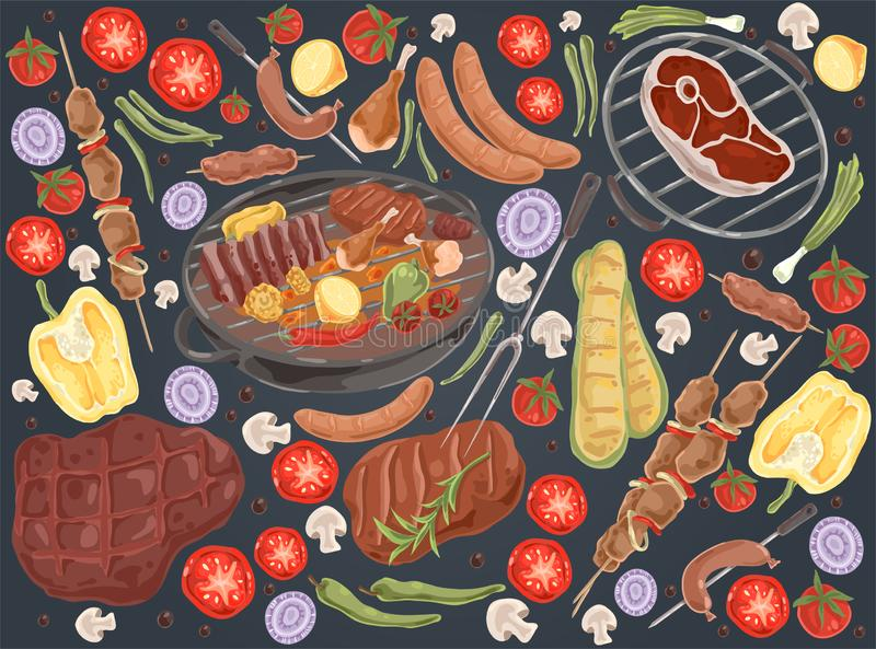 Roasted meat with vegetables, grilled steak, shashlik, chicken legs, cooked ribs, grilled sausages, tasty bbq set. Delicious barbecue, summer picnic doodle stock illustration