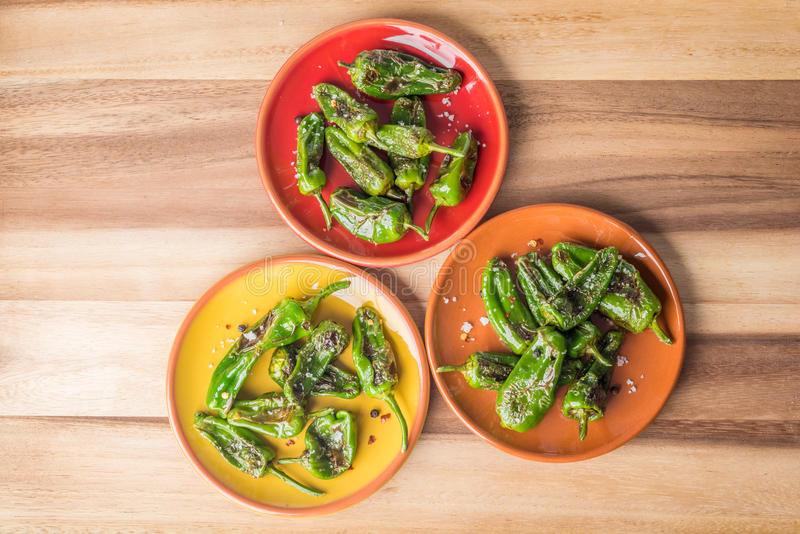 Roasted padron peppers royalty free stock photo