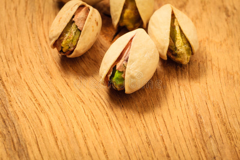 Roasted pistachio nuts seed with shell stock image