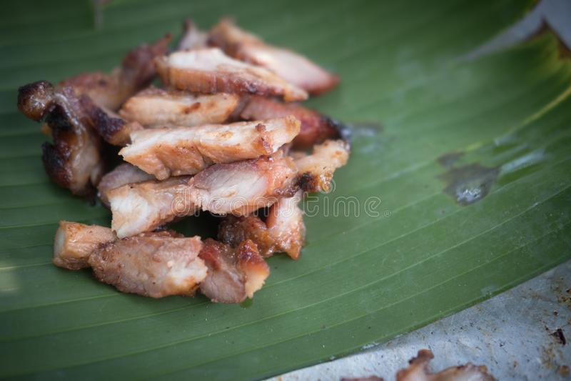 Roasted pork grilled meat slice. Thai style food stock image