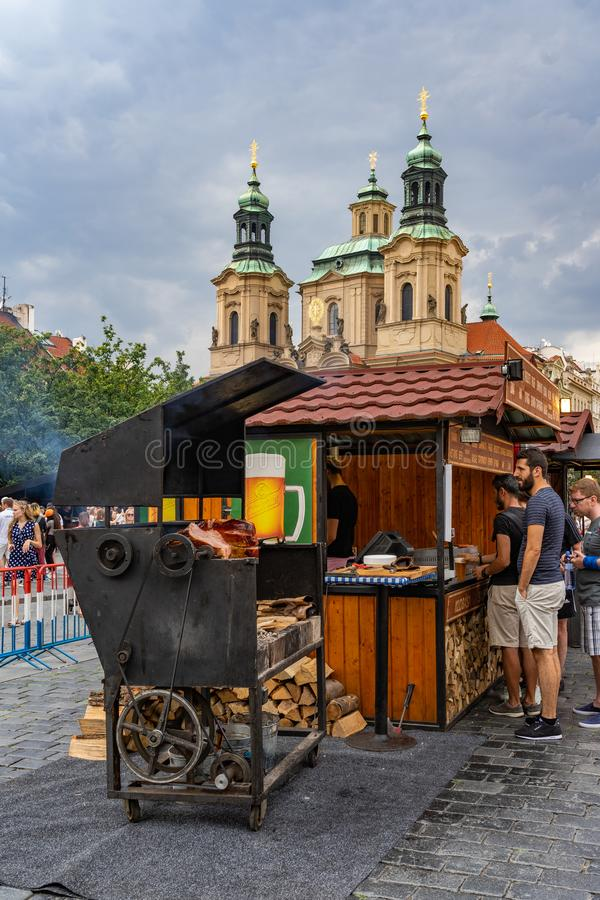 Roasted pork knuckle traditional dish of Prague in Czech Republic stock images