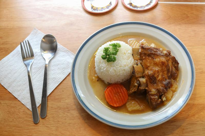 Roasted Pork Ribs With Rice stock photo