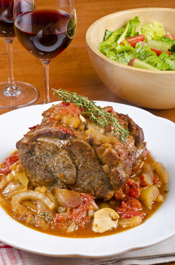 Free Roasted Pork Shoulder, Red Wine And Green Salad 2 Stock Images - 28406464