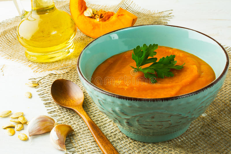 Roasted pumpkin cream soup royalty free stock photo