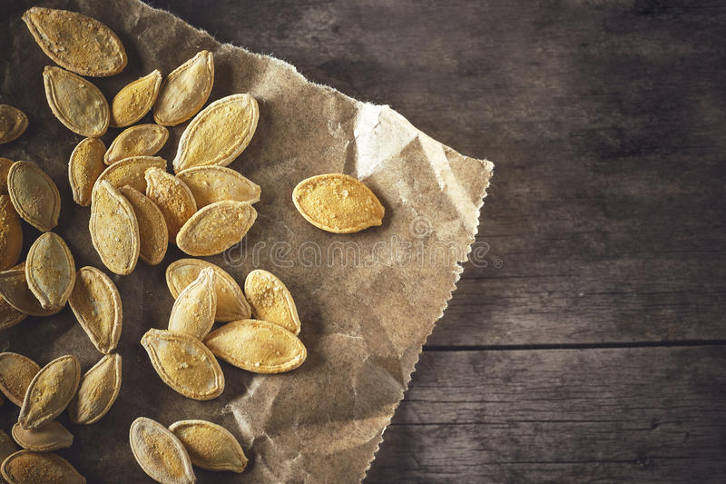 Roasted pumpkin seeds stock images