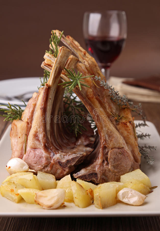Roasted rack of lamb stock photo