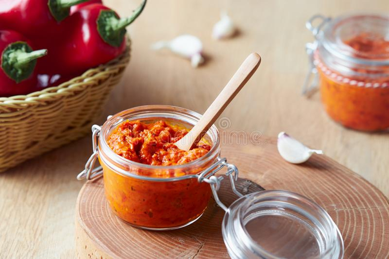 Roasted Red Pepper Relish Ajvar stock photo