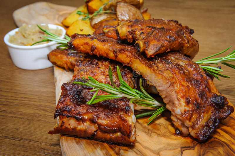 Roasted ribs close-up stock images