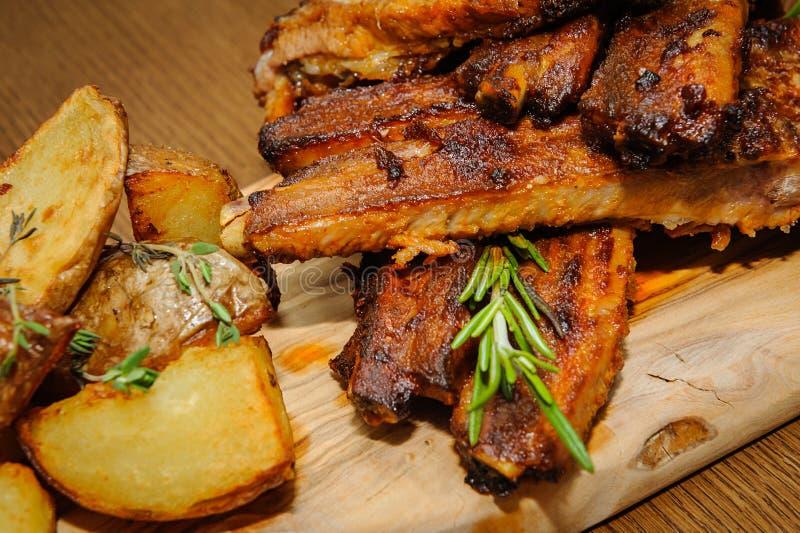 Roasted ribs close-up stock image