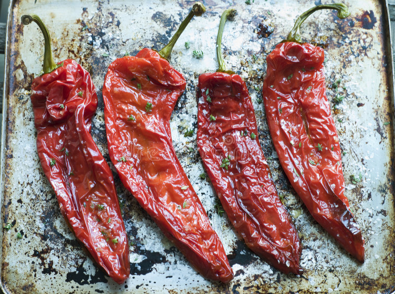 Roasted Romano Peppers stock photos