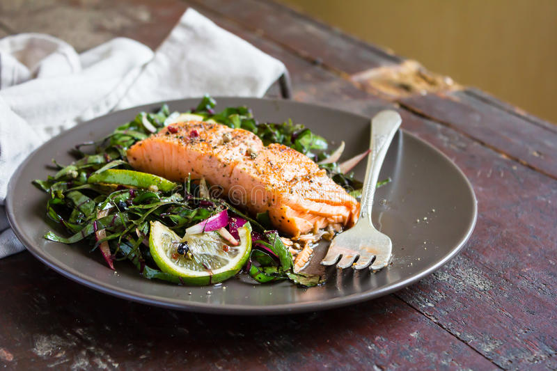 Roasted salmon fillet with fresh salad with onion and lime in a plate royalty free stock photos