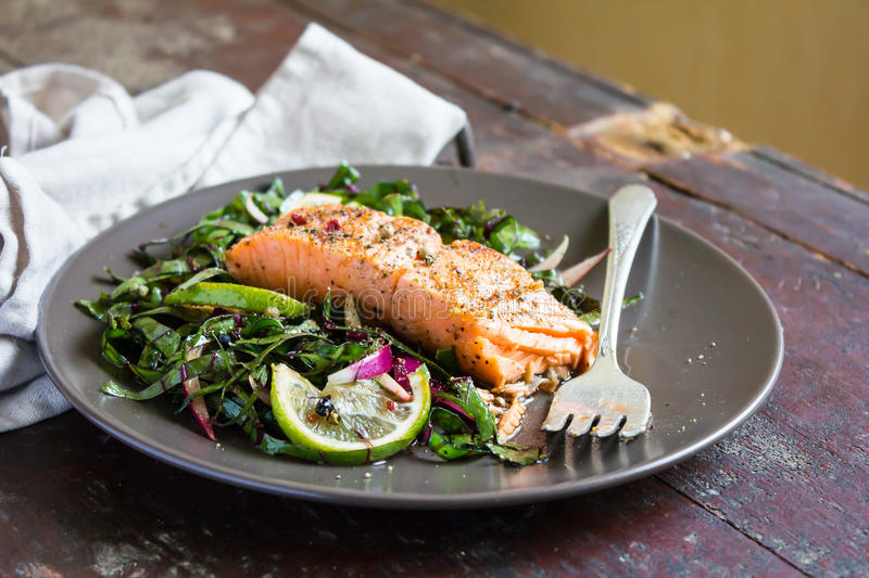 Roasted salmon fillet with fresh salad with onion and lime in a plate royalty free stock photography