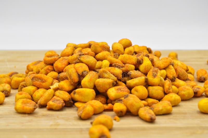 Roasted salted corn with sauce royalty free stock photo