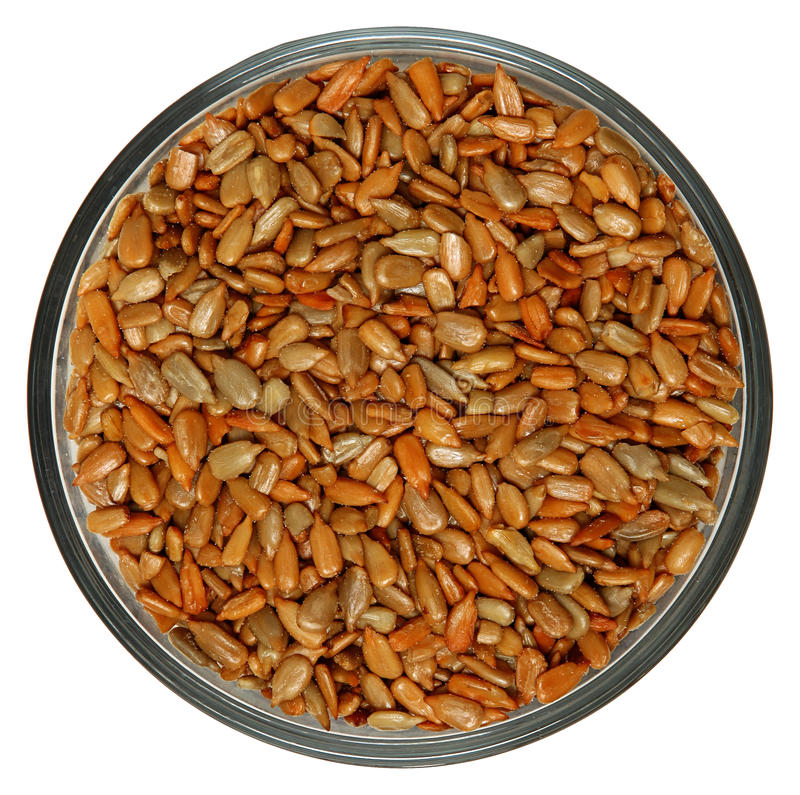 Roasted Salted Sunflower Seeds in Bowl royalty free stock photos