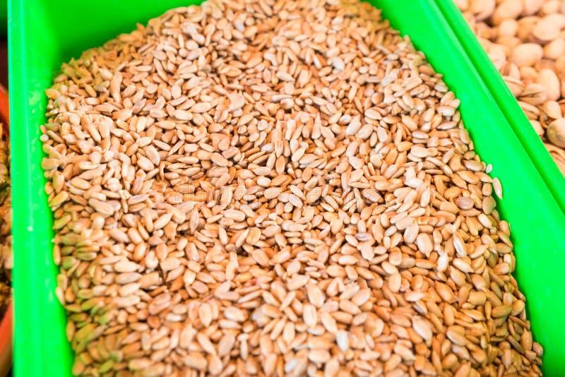 Roasted salted sunflower seeds stock photo