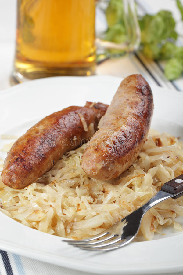 Roasted sausages and beer stock photo