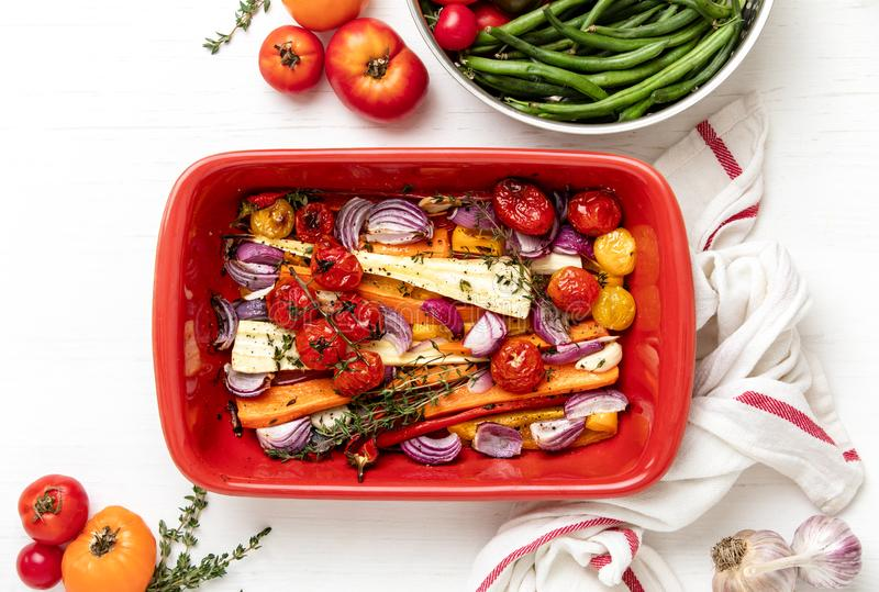 Roasted season vegetables freshly cooked stock image