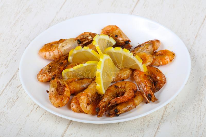 Roasted shrimps stock photos
