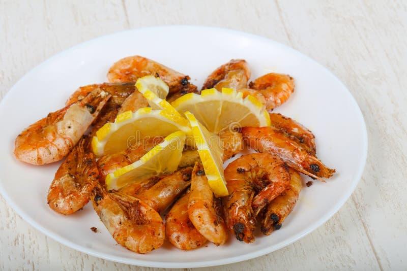 Roasted shrimps stock images