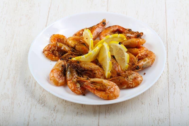 Roasted shrimps stock photography