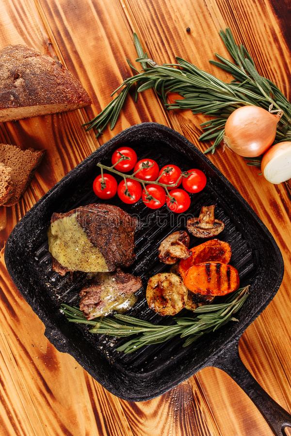 Roasted Sliced Beef Steak Mustard Sauce Top View stock photography