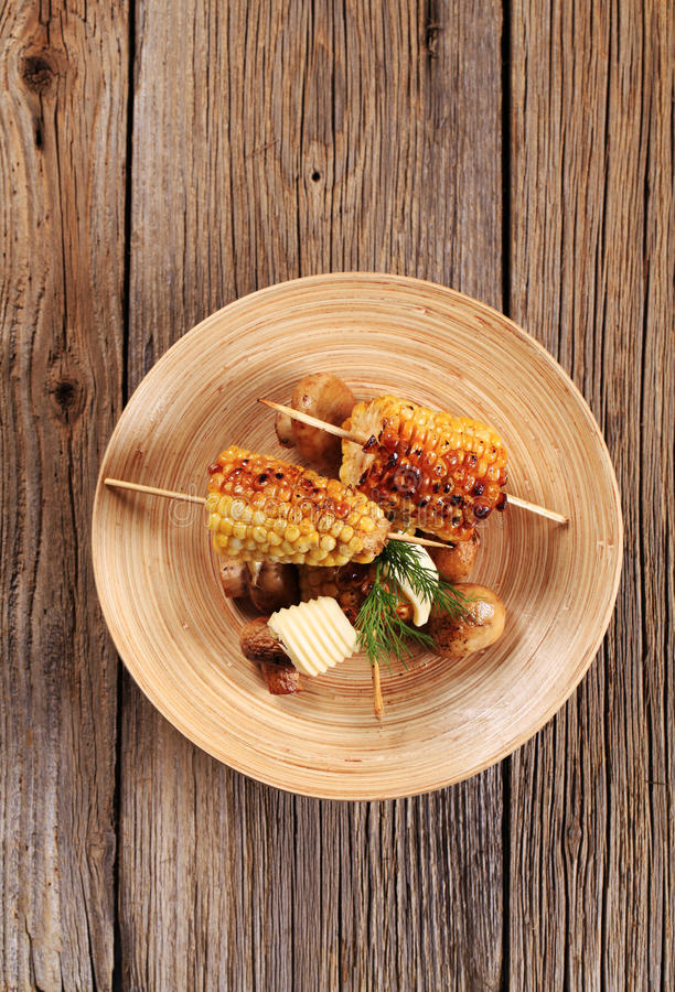 Download Roasted Sweet Corn And Mushrooms Stock Image - Image: 18790881