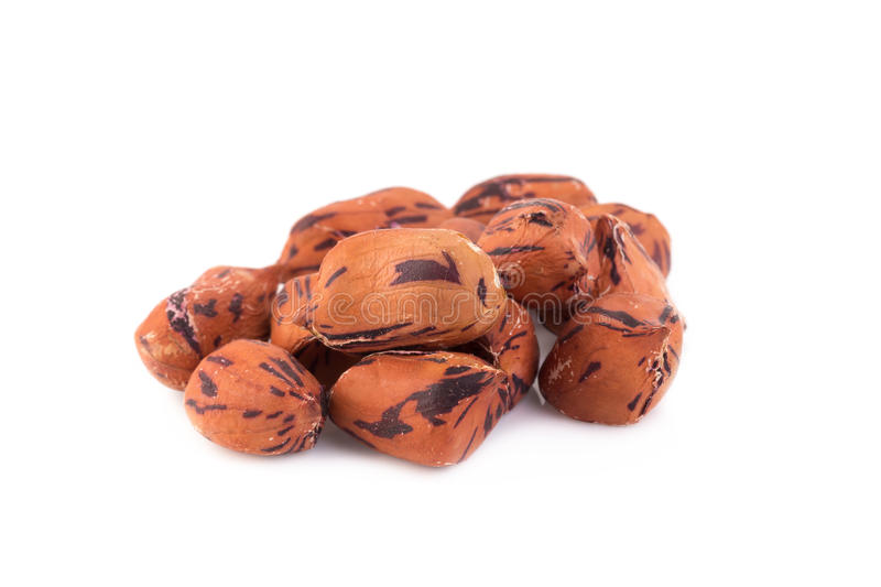 roasted tiger peanuts on white background royalty free stock images