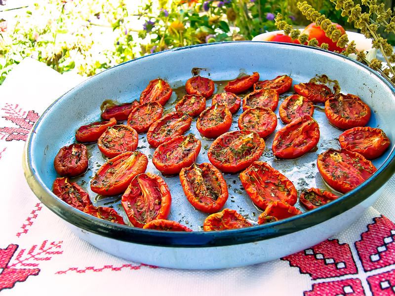 Roasted tomatoes royalty free stock photography