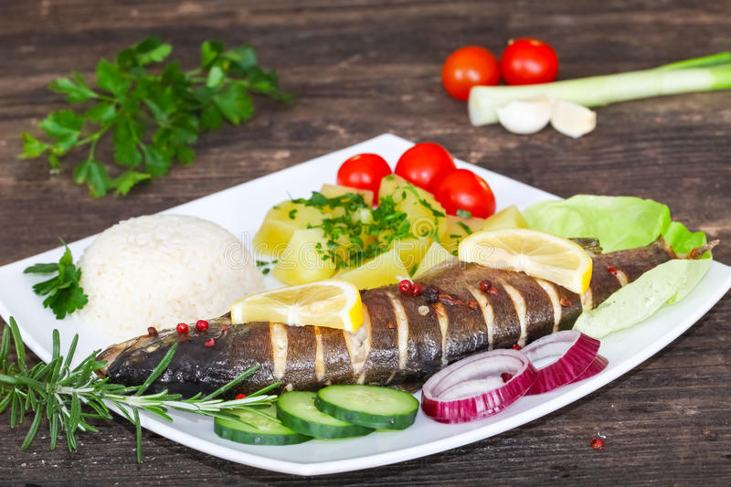Roasted trout on plate stock photography