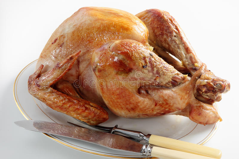 Roasted turkey for carving stock photo